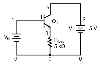 Common collector amplifier for SPICE.