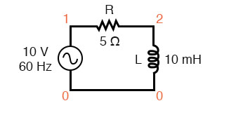 Spice circuit: R-L.