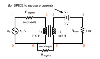 spice circuit for coupled inductors
