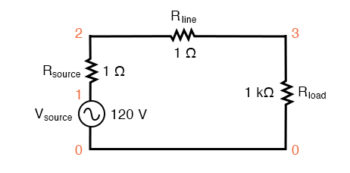 spice circuit with single sine wave source
