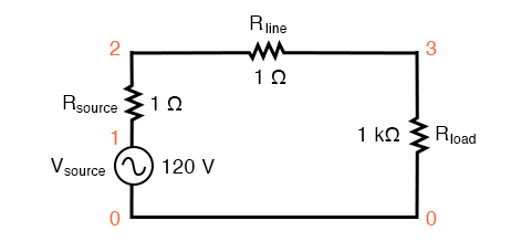 SPICE circuit with single sine-wave source.