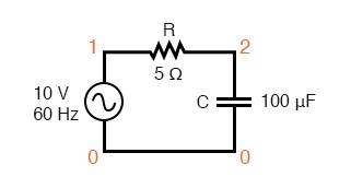 Spice circuit: R-C.