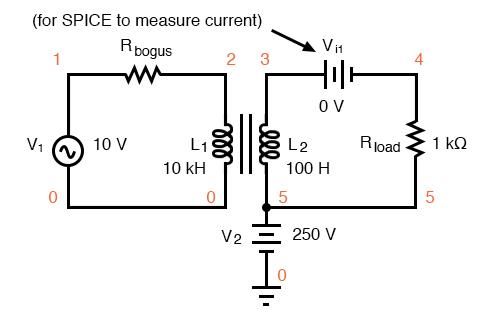 Transformer isolates 10 Vac at V1 from 250 VDC at V2.