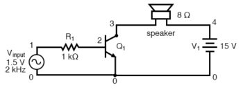 spice version of common emitter audio amplifier