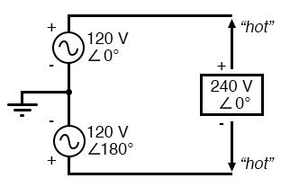 split phase sources in schematic diagram