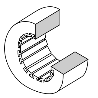 Stator frame showing slots for windings