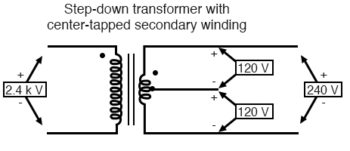 step down transformer with center tapped secondary winding