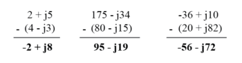 subtraction of complex numbers in rectangular form