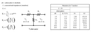 t section attenuator resistors formula