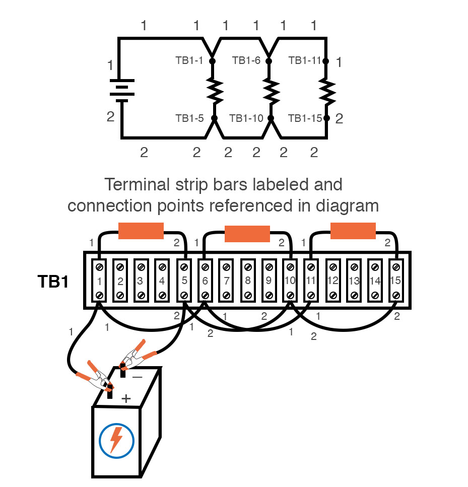 terminal strip bars labeled connection points referenced