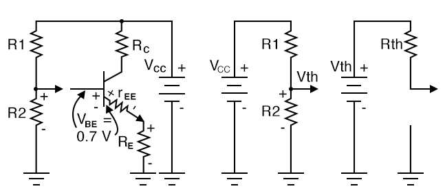 Thevenin's Theorem converts voltage divider to single supply Vth and resistance Rth.