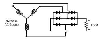 three phase full wave bridge rectifier circuit