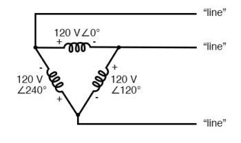 three phase three wire delta connection