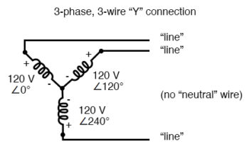 three phase three wire y connection