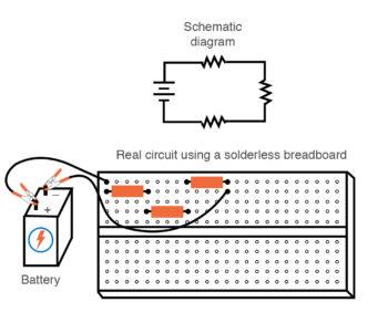 three resistor circuit in a breadboard