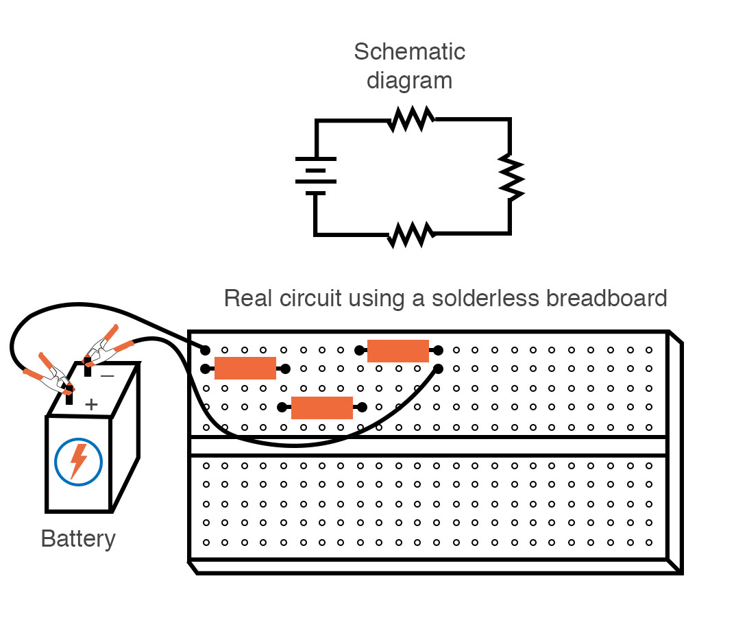 three resistor circuit in a breadboard