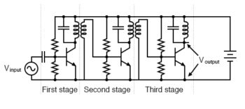 three stage turned rf amplifier illustrates transformer coupling