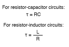 time constant of the circuit formula