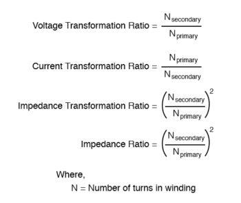 transformation ratio of impedance equation