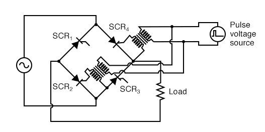 Transformer coupling of the gates allows triggering of SCR2 and SCR4 .