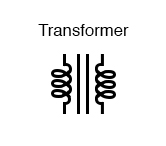 The schematic symbol for a transformer consists of two inductor symbols, separated by lines indicating a ferromagnetic core.