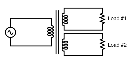 Transformer with multiple secondaries provides multiple output voltages.