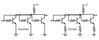 transistors paralleled for increased power require emitter ballast resistors