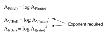 translating voltage or current gain ratio exponent equation