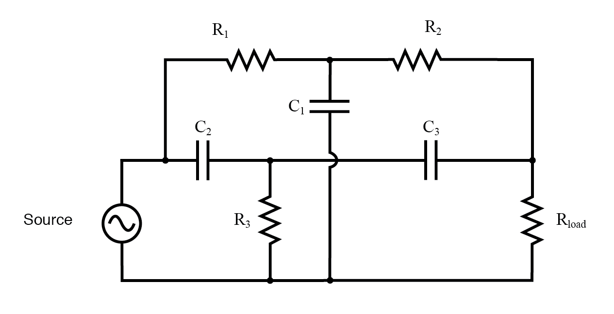 """Twin-T"" band-stop filter."
