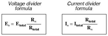 voltage current divider formula