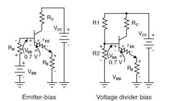 voltage divider bias replaces base battery with voltage divider
