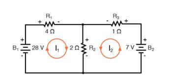 voltage drop polarities labeled