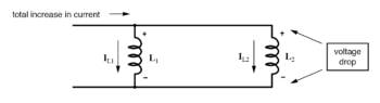 voltage dropped across parallel inductors