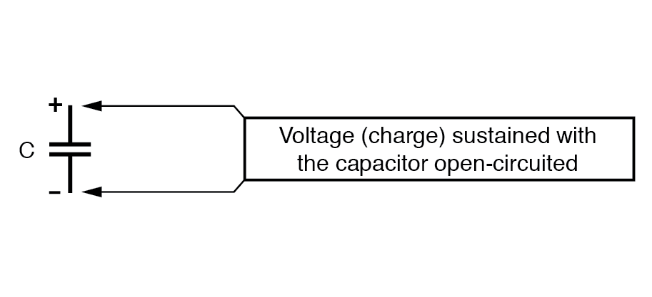 voltage sustained with the capacitor open circuit