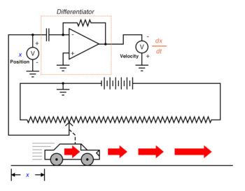 voltmeter connected to the differentiator circuits output