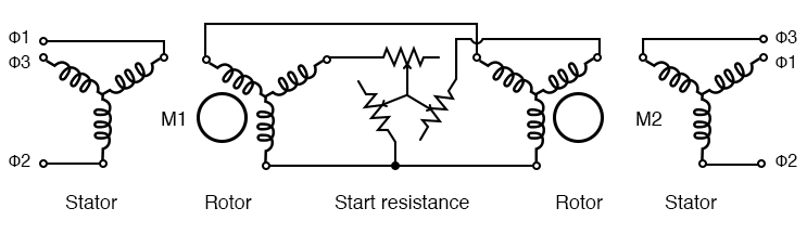 Starting wound rotor induction motors from common resistors