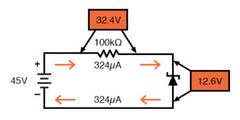 zener diode circuit with higher resistances