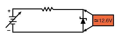 Zener diode regulator circuit, Zener voltage = 12.6V).