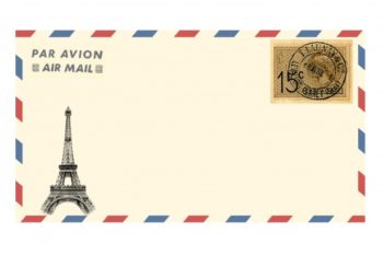 air mail envelope eiffel tower