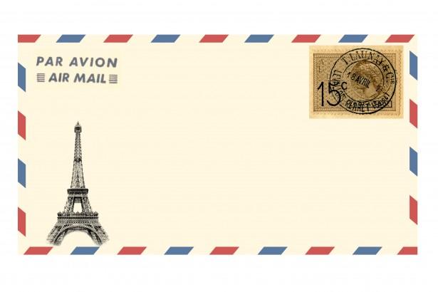 air mail envelope eiffel tower