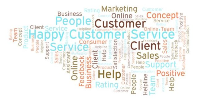 happy customer service word cloud made text 128333218